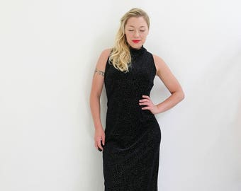 1990s Midnight Glitz Evening Dress /// Size Large to Extra Large