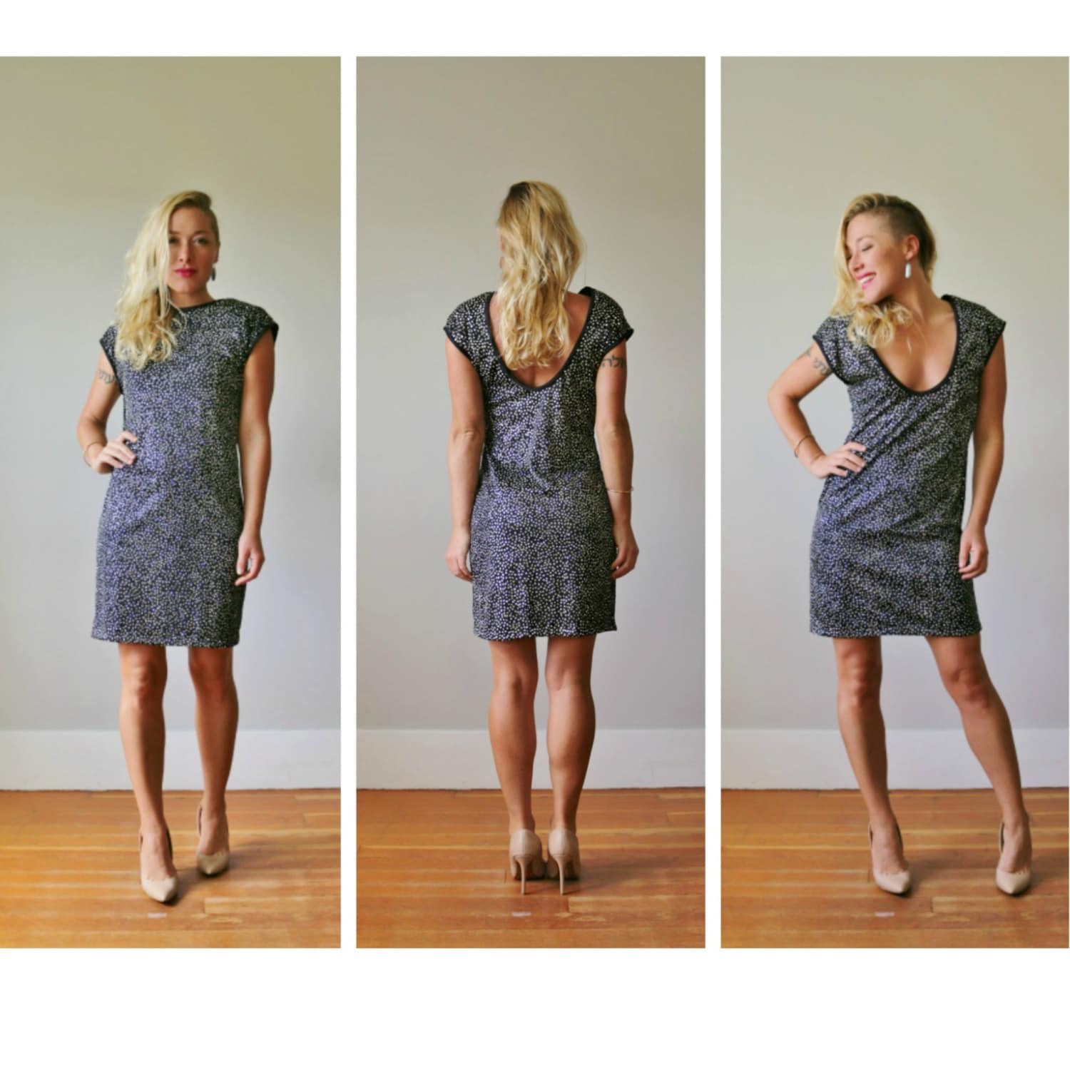 80s Dresses | Casual to Party Dresses 1980S Silver Dot Mini Dress Extra Small To Medium $50.00 AT vintagedancer.com