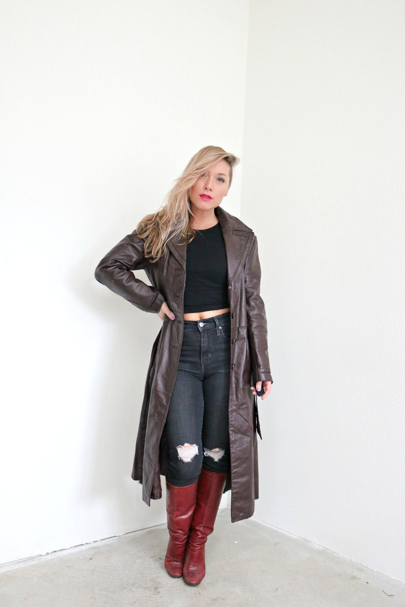 1970s Burgundy Leather Trench Coat   Size Extra Small to Small
