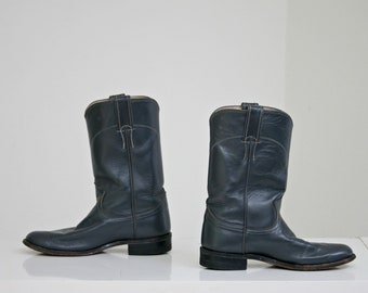 1970's Charcoal  Gray Leather Justin Boots / Women's Size to 5 to 5-1/2 // Riding Boots // Motorcycle Boots // Made in USA