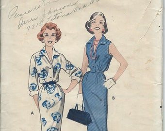 1958 VINTAGE BUTTERICK PATTERN Misses Shirt dress. 8501 Size 12. Bust 32.