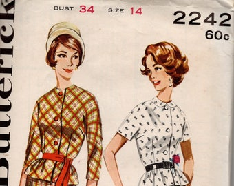 1960s VINTAGE BUTTERICK PATTERN 2242 Two Piece Dress. Size 14. Bust 34