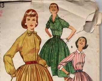 1956 VINTAGE SIMPLICITY PATTERN 1683 One Piece Dress. Size 16. Bust 36