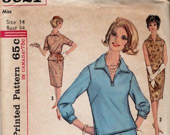 1960s VINTAGE SIMPLICITY PATTERN 5021 Two Piece Dress. Size 14. Bust 34