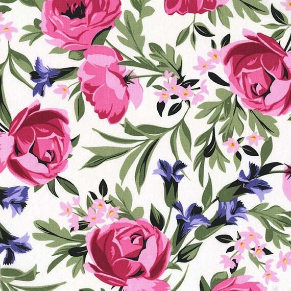 Michael miller roses flowers on white cotton fabric etsy image 0 mightylinksfo