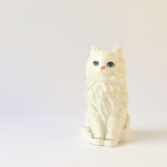 white cat figurine animal collectible white persian cat statue etsy