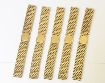 Wristwatch Bands Watch Bands Gold NOS Stainless Steel Lot of 5 1970s 18mm