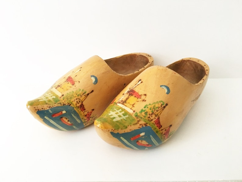 Wooden Shoes Amsterdam Hand Carved Painted Windmill Netherlands Decor Travel Souvenir