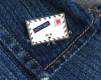Happy Mail Enamel Pin - envelope snail mail stamp air mail letter lapel