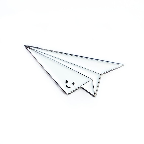 Paper Airplane Enamel Pin Cute Cartoon Flying Plane Etsy