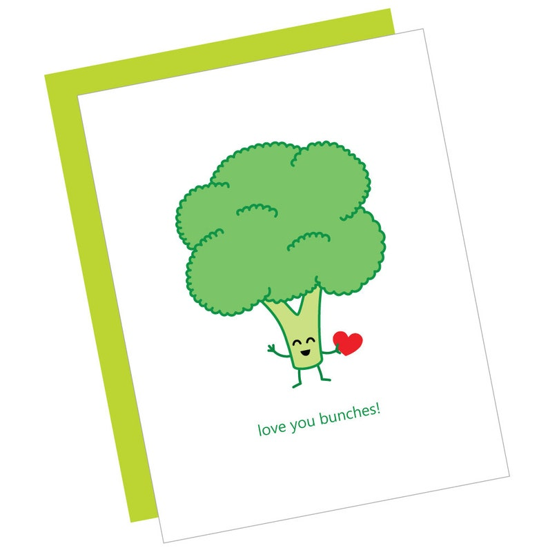love you bunches  card cute cartoon funny punny broccoli image 0