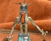 David Freeman Jr. (Made in 1998) Heoto Dancer Kachina Doll Sterling Silver and Inlay of Genuine Stones