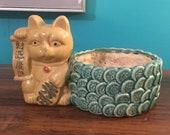 Vintage lucky cat - yellow - bamboo planter, pot - green coins - Japan MANEKI NEKO BECKONING kitty - fortune money wealth - fengshui, 1960 39 s