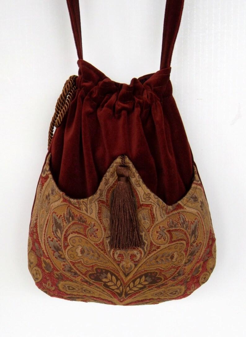 Rust Velvet Pocket Bag Boho Bag Tapestry