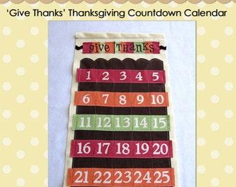Thanksgiving Countdown Calendar - PDF Pattern