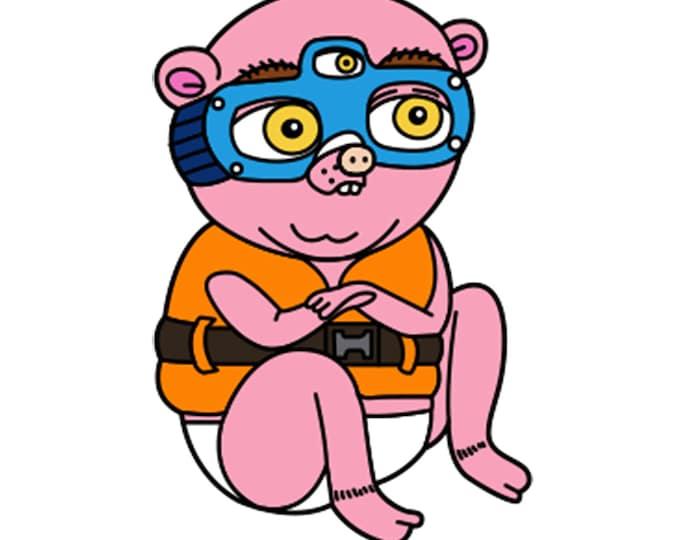 Marzipan the Three-Eyed Pig Bear Vinyl Sticker 4 inch