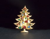 FREE SHIPPING - Signed Brook the quot Harp quot Christmas Tree Brooch