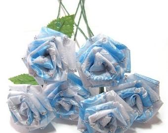 Winter Frost Blue Rose Bouquet