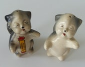Vintage Cat Souvenir Ceramic Salt and Pepper Shakers Yellowstone Park