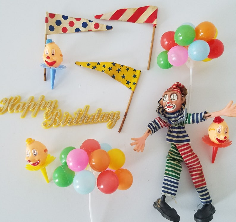 Surprising Vintage Clown Circus Birthday Cake Decorations Set Of 10 Etsy Funny Birthday Cards Online Inifodamsfinfo