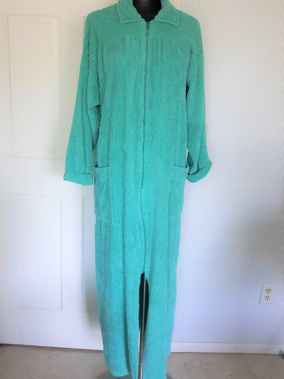 Vintage Turquoise Chenille Robe