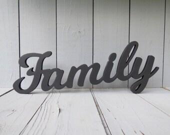 Family Signwood Signwooden Signfamilyhome Decorfamily Wallwall Familywood Wordshome And Livingwood Letterwall Decor