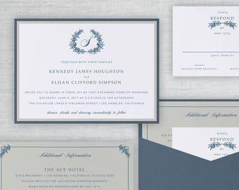 Classic Crest Wedding Invitation, Dusty Blue Wreath Monogram Wedding Invite, Formal Wreath Pocket Invitation Suite, Steel | Kennedy & Elijah