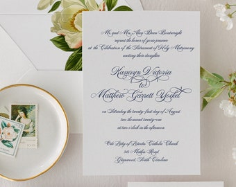 Timeless, Elegant Calligraphy Wedding Invitations | Traditional Script Wedding Invitation Suite | Kamryn