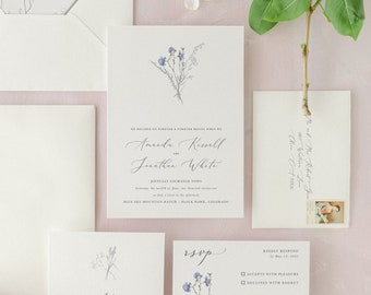 Wildflower Wedding Invitation | Bright Blue Spring Floral Invite | Elegant Simple Invitation Suite | The Classic Collection | Amanda