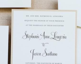 Classic Gold Wedding Invitation, Formal Wedding Invitation, Simple Wedding Invitation,  Elegant Invitation Suite | Stephanie & Jason