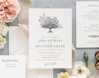 Formal Vintage Floral Wedding Invitation Suite | Classic and Traditional Wildflower Wedding Invitation Set | Printed Invites | Jana