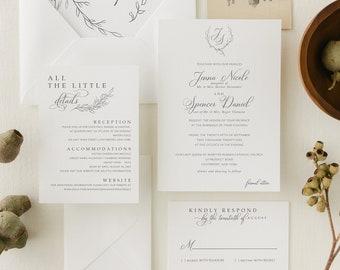 Classic, Elegant Wedding Invitation Suite with Greenery and Monogram Crest  | Formal Extra Thick Printed Wedding Invites | Jenna