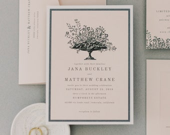 Blush Bisque Vintage Floral Wedding Invitation, Formal Printed Wedding Invitation, Simple Wedding Invitation, Traditional | Jana and Matthew