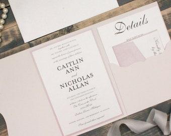 Elegant Wedding Invitation Pink, Traditional Mauve Pocket Wedding Invitations, Dusty Pink Wedding Invite | Caitlin & Nicholas