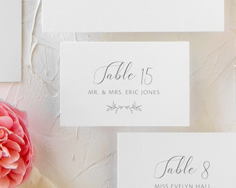Simple Floral Wedding Place Cards | Folded Wedding Escort Cards with Greenery | Wedding Table Seating Cards | Jacquelyn