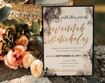 Moody Navy Blue Watercolor Wedding Invitation, Dark Watercolor Invite, Navy and Gold Wedding, Dramatic Jewel Toned  | Savannah & Nicholas