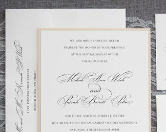 Gold Printed Fall Wedding Invitation, Formal Winter Wedding Invitation, Simple Wedding Invitation,  Formal, Traditional  | Mikah & Patrick