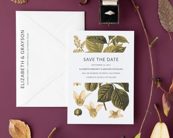 Fall Botanical Illustration Save the Date |  Rustic Wedding | Rustic Greenery and Berries | Vintage Floral Invite | Elizabeth and Grayson