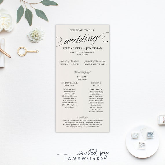 Simple Wedding Program Modern Wedding Ceremony Program Bernadette