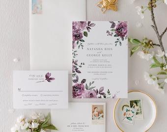 Spring Floral Wedding Invitation with Purple Roses | Mauve Fall Invitation Suite with Flowers  | Elegant Boho Printed Invite | Natasha