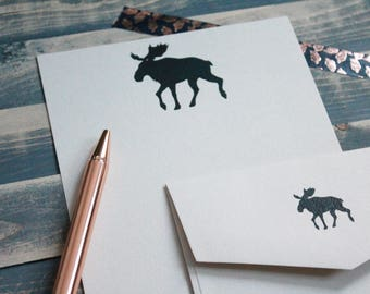 Vintage Moose Writing Set | Writing Paper | Stationery Gift Set | Gift for Her | Gift for Him | Stocking Stuffer | Snail Mail