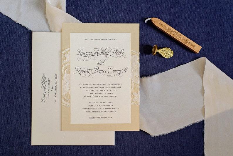Gold Lace Wedding Invitations Formal Invitation Traditional Simple Elegant