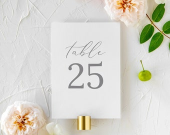 """Wispy Calligraphy Table Numbers - 5x7"""" or 4x6"""" 