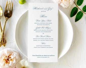 Wedding Day: Menus