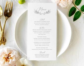 Simple Floral Wedding Menu | Line Drawn Flower Calligraphy Dinner Menu | Jacquelyn