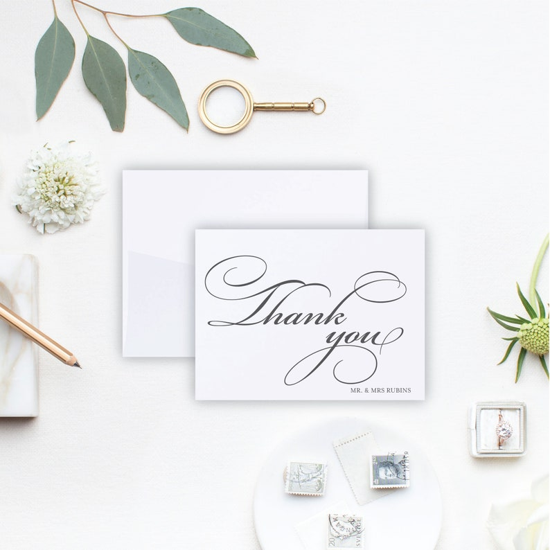 Personalized Wedding Thank You Card Set Mikah