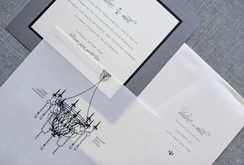 Chandelier Wedding Invitations: Antique Chandelier Wedding Invitations Black Tie Wedding