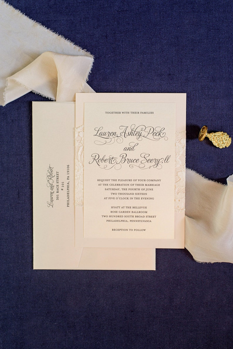 Blush Pink Lace Wedding Invitations Traditional Fancy Formal