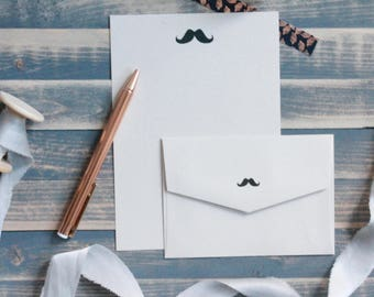 Mustache Writing Set | Writing Paper | Stationary Gift Set | Gift for Her | Gift for Him | Stocking Stuffer | Snail Mail