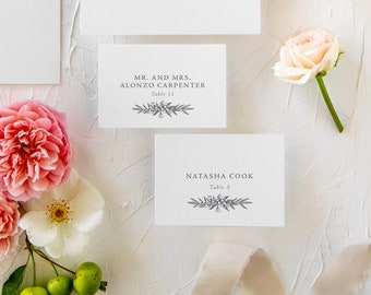 Printed Place Cards for Wedding Seating | Delicate Floral Escort Cards | Jana